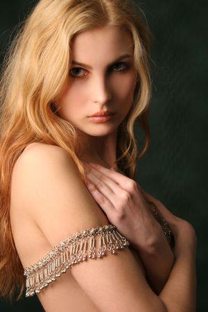 caucazian young model, closeup studio shot photo