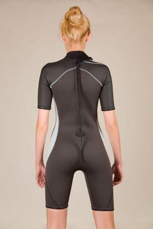 wet suit: Female diving neoprene suit, closeup studio shot