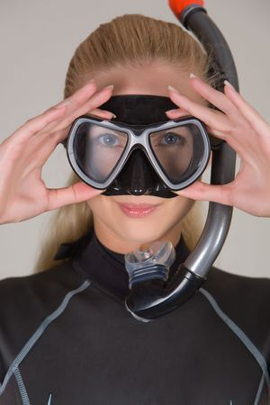 Closeup diver girl, studio shot Stock Photo - 5234366