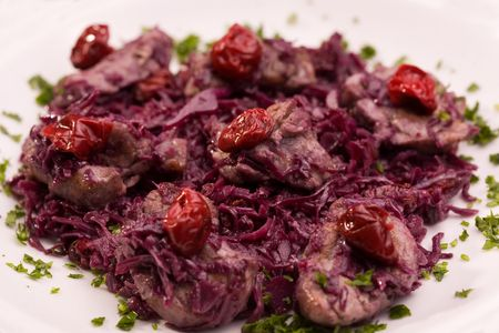 german ethnicity: Pork with red cabbage and crandberry, shot with selective focus