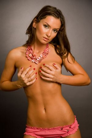 necked: Necked meisje geïsoleerd op zwart, studio shot