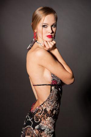 Sexy young girl in transparent dress, closeup shot photo