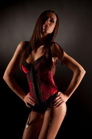 Erotic look, close up studio isolated shot Stock Photo