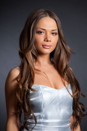 Girl in grey dress, portrait shot