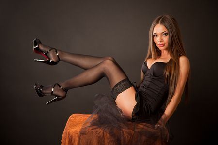 Sexy girl in stockings, horizontal shot photo