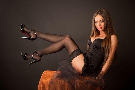 Sexy meisje in kousen, horizont aal schot