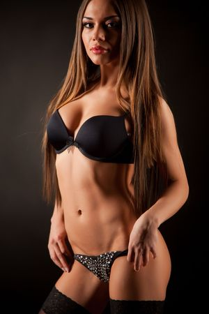 Bodybuilder woman, studio isolated shot Stock Photo
