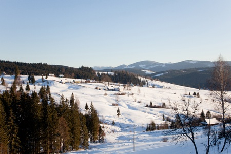 Village in snow, outdoor winter shot Stock Photo - 8866400