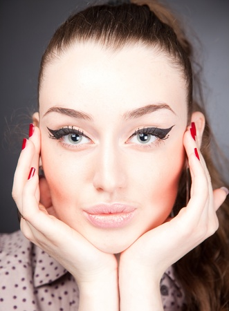 Perfect face, portrait studio isolated shot photo