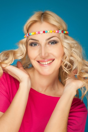 fillings: Happy hippy girl, colorful studio isolated shot Stock Photo
