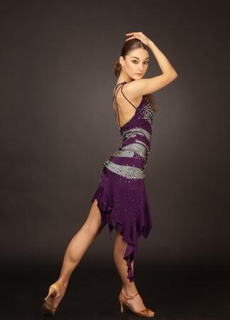 Girl dancing latino, studio isolated shot