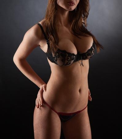 Girl in sexy transparent black underwear, studio shot Stock Photo