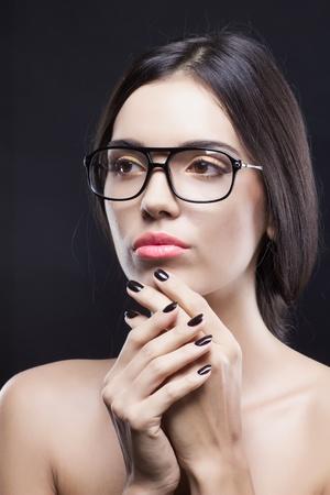 Fashionable beauty shot of girl with stylish glasses  photo