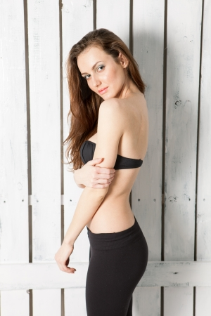 pale wood: Beautiful test shooting of brunette model