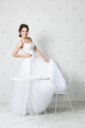 fillings: Young beautiful bride posing, studio shot Stock Photo