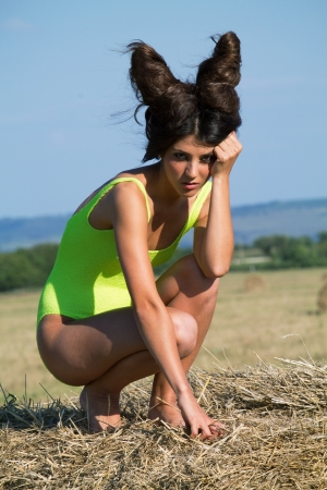 wild hair: Wild devil with crazy hairstyle, outdoor shoot Stock Photo