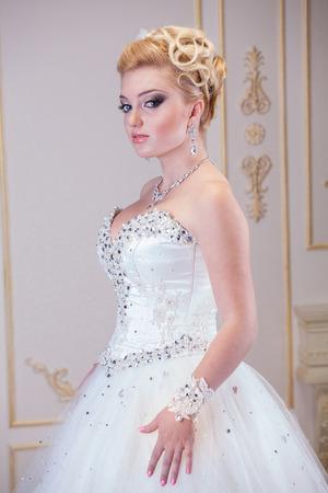 full size: Traditional caucasian bride, studio shot Stock Photo
