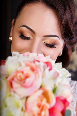 makeup eyes: Happiness of a woman, portrait shot