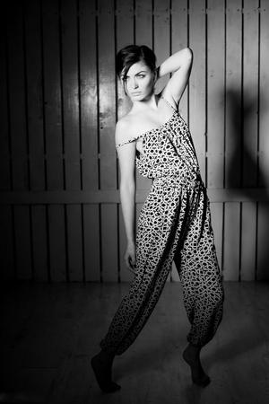 top model: Monochrome fashionable shot of a top model in studio Stock Photo