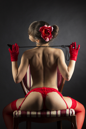 erotic fantasy: Erotic fantasy with girl in red topless