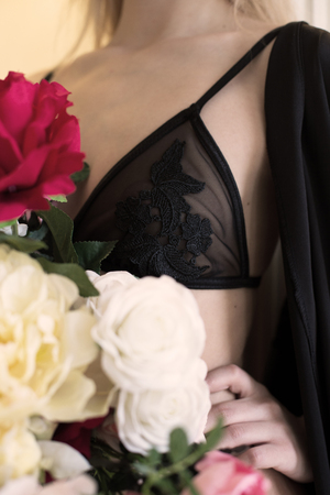 erotical: Close up luxury handmade bra made from natural materials Stock Photo