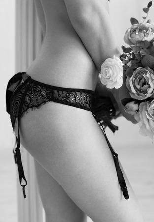 black silk: Monochrome shot of handmade panties made from black lace and silk