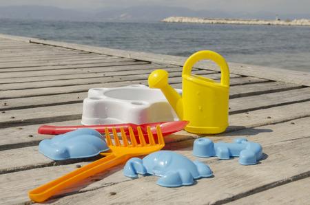 Childrens toys set, outdoor shot