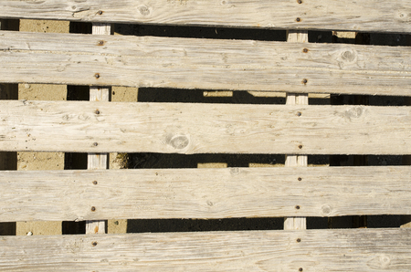 pitting: Old wooden pier with rusted nails, close up shoot