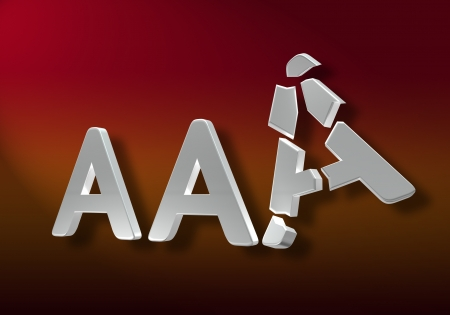 inferior: The AAA notation agencies symbol, with a broken A, meaning the degradation to an inferior rank