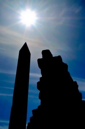 obelisk stone: The silhouette of an egyptian obelisk in Luxor