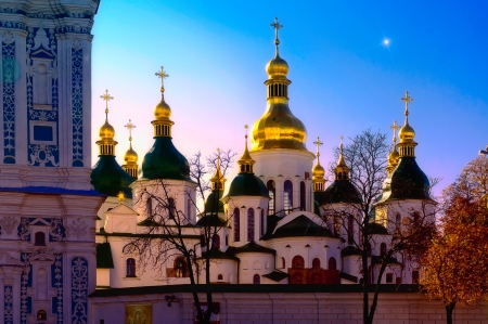 A magic image of Saint Sophia Church in Kiev, Ukraine  It is the Xmas evening, a star appears in the sky… Stock Photo