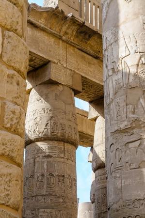 Columns in the Karnak temple in Luxor, Egypt Stock Photo