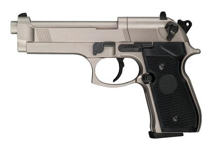 A metallic color handgun with the black handle
