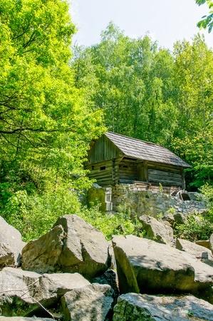 pirogovo: A typical ukrainian antique stone house in the forest, in Pirogovo near Kiev