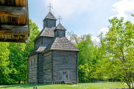 A typical ukrainian antique orthodox church in Pirogovo near Kiev Stock Photo - 18190465