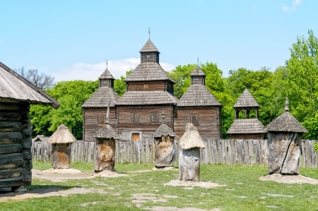 A typical ukrainian antique orthodox church in Pirogovo near Kiev