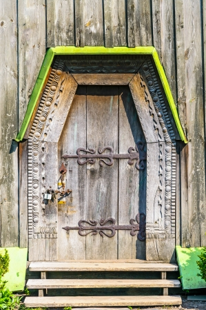 Detail of the door of a typical ukrainian antique orthodox church, in Pirogovo near Kiev Stock Photo - 18190537