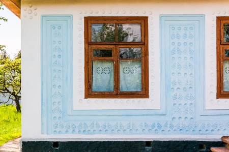 pirogovo: Detail of a window of a typical ukrainian antique house, in Pirogovo near Kiev