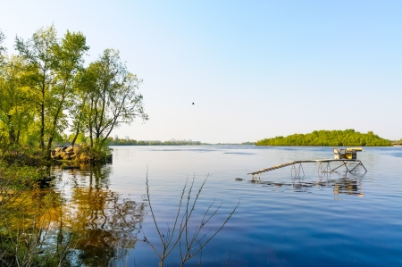 A quiet view of the Dniper river soon at dawn Stock Photo - 18647427