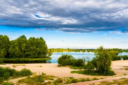 the dnieper: Late afternoon on the Dnieper River in Kiev. Heavy clouds Stock Photo