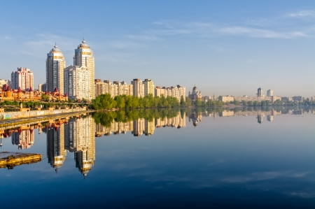 dniper: Buildings close to  the Dniper river soon at dawn Stock Photo