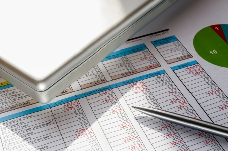 Accounting form with pen, in the businessman Banco de Imagens