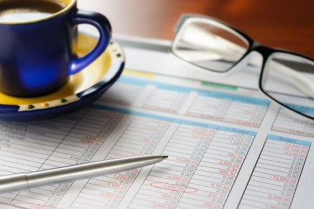Accounting form with pen, in the businessman Stock Photo