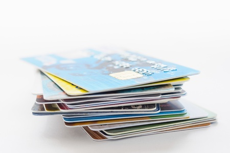 A pile of several colored credit cards Stock Photo