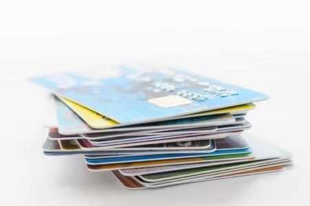 Une pile de plusieurs cartes de crédit couleur Banque d'images - 19500577