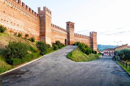 bulwark: The strong bulwark around the medieval town of Gradara in Italy