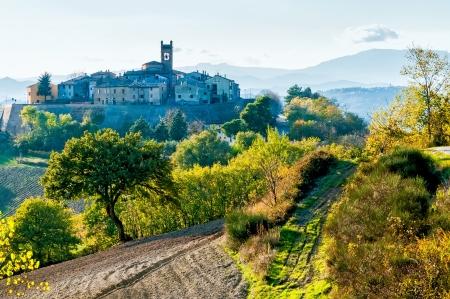 The little village of Montefabbri on a hill of the Italian Marche region