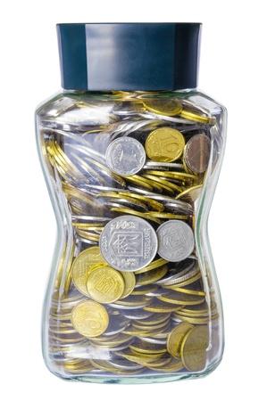 kopek: A lot of ukrainian kopek in a glass jar Stock Photo