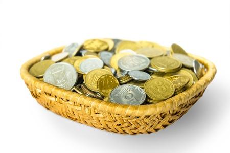 kopek: Many ukrainian kopek in a little basket