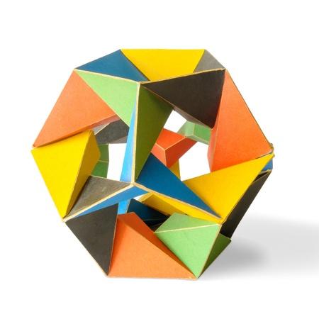 icosahedron: A colorful icosahedron on a white background Stock Photo